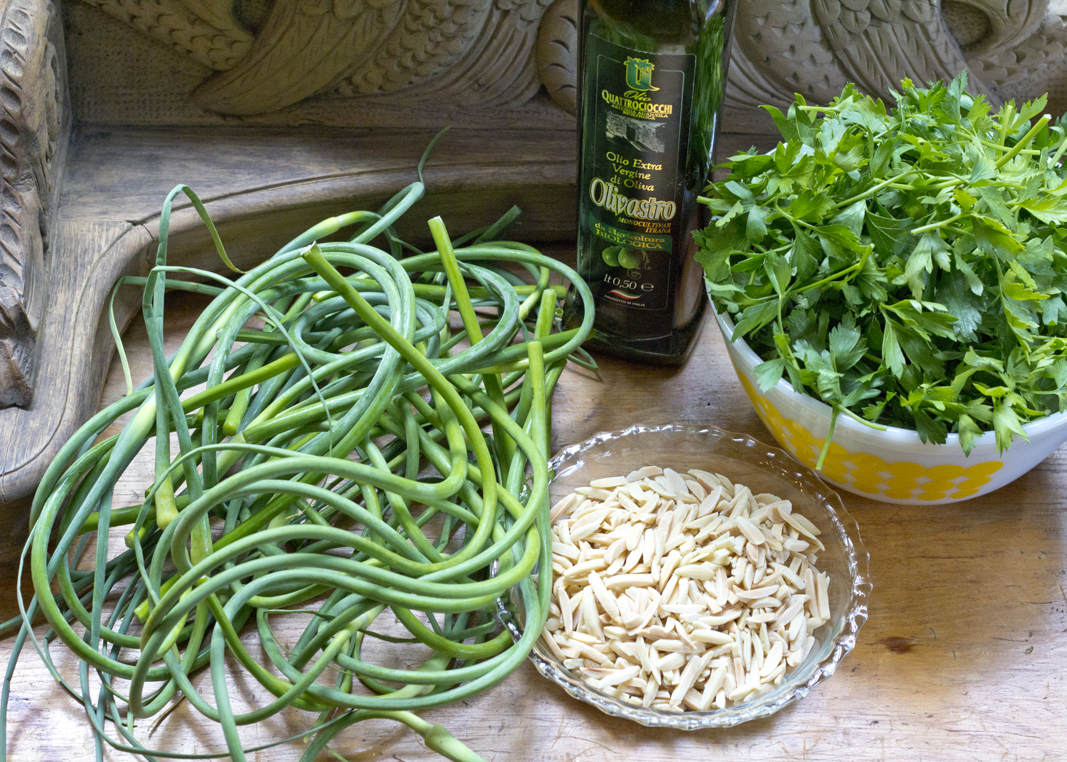 Garlic Scape Pesto On Fusilli With Garlic Scape Garlic ...