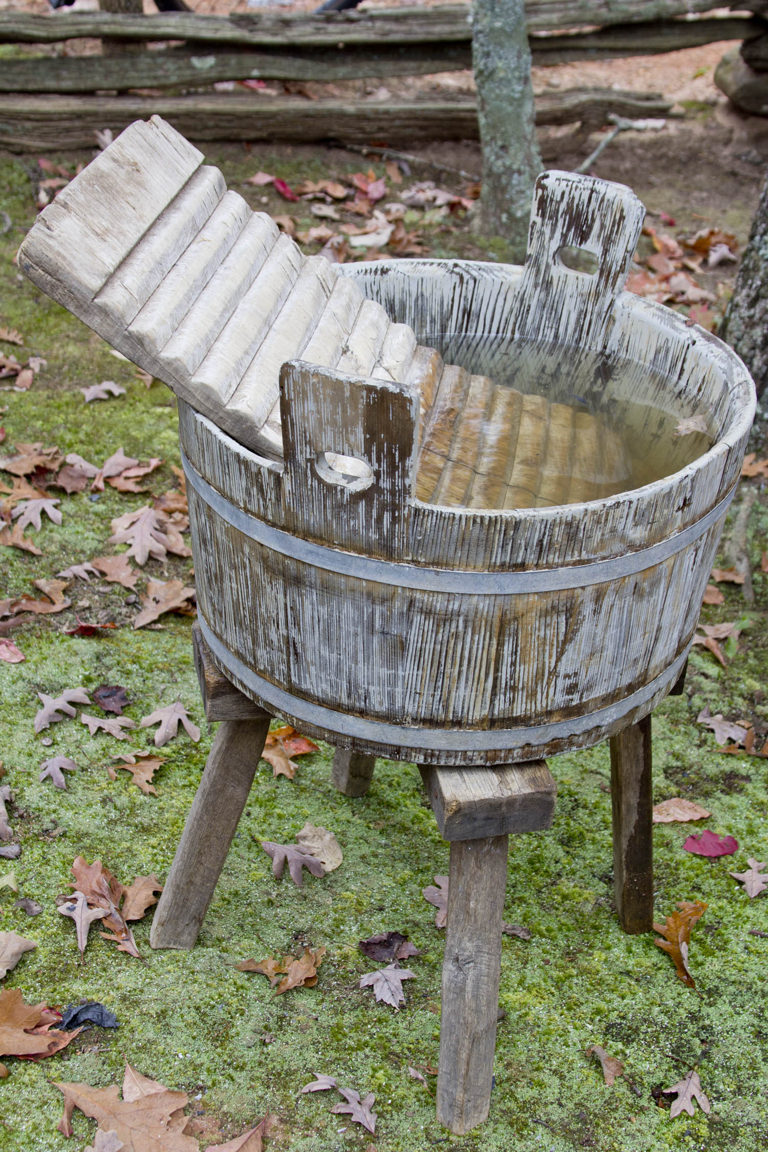wooden wash tub in moss Log Cabin Cooking