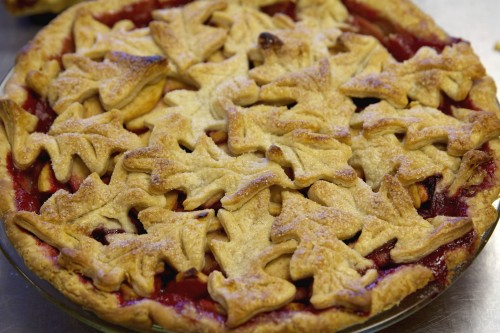 We made Brookes's beautiful apple raspberry pie
