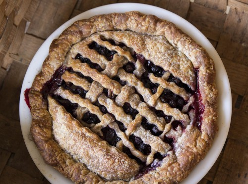 blueberry black raspberry candied rhubarb pie