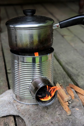 rocket stove 12 333x500 Make a hobo tin can portable rocket stove + class