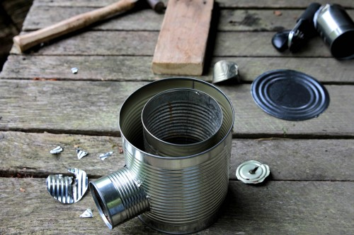rocket stove 5 500x333 Make a hobo tin can portable rocket stove + class