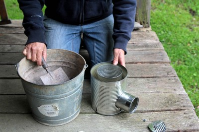 Rocket stove 6 log cabin cooking for Tin can rocket stove