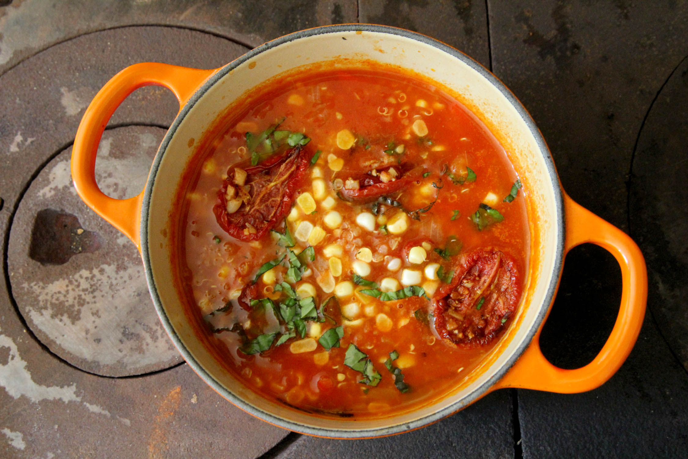 Roasted tomato corn chowder
