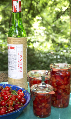 Jars of maraschino cherries