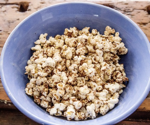 chocolate orange popcorn bowl 500x415 Chocolate Orange Chili Picnic Popcorn