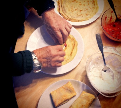 My dad, Leon makes cheese blintzes
