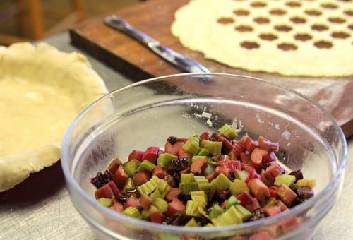 Rhubarb sour cherry pie innards