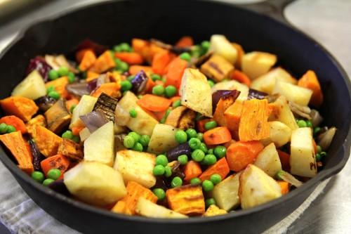 roated pot pie innards