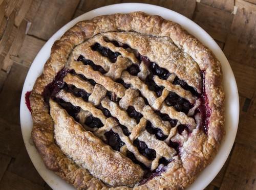 blueberry black raspberry candied rhubarb pie