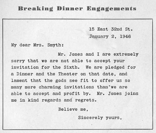 breaking a dinner invitation