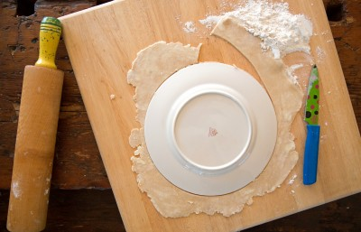 Roll out your pie crust and cut into circle shape